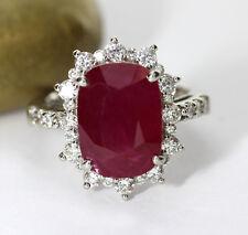 Ring Rubin sehr groß 6,39 ct Brillanten 0,90 ct, 900-Platin Wert 16900 € (4113)