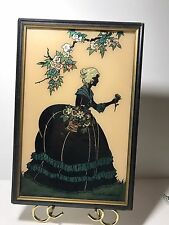 Reverse Painting Smith Frederick Old Fashioned Girl Garden Silhouette. B E 20