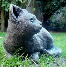 "Stone Cat Kitten Garden / Home  Ornament  Muted Grey special gift ""PERCY SLEGE"""