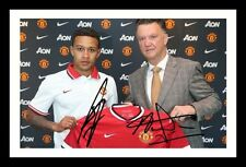VAN GAAL & MEMPHIS - MANCHESTER UNITED SIGNED & FRAMED PP POSTER PHOTO