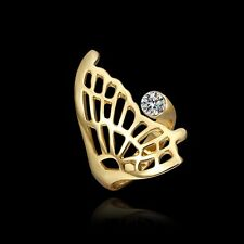 18K Yellow Gold Plated Butterfly with Zircon Rhinestone Ring Jewelry *UK Seller