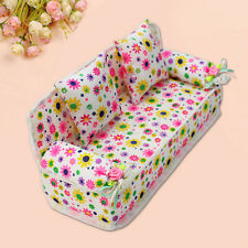 Mini Furniture Flower Sofa Couch +2 Cushions For Barbie Doll House Accessories A