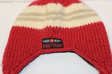 Marmot Kids Winter Hat - Crimson Red / Tan Striped - Wool Blend - EUC