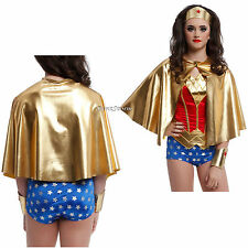WONDER WOMAN Super Hero ADULT GOLD LAME HALF CAPE for Costume Cosplay Party NEW