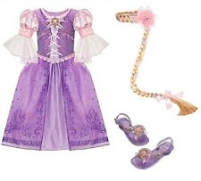 NEW Disney Store Tangled RAPUNZEL Dress Shoes Wig L 10 Braid Halloween Costume
