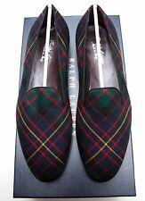 NEW Ralph Lauren Purple Label Collis Wool Tartan Slipper Loafer Shoes Italy 10