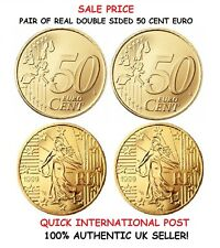 PAIR OF REAL DOUBLE SIDED 50 CENT EURO [1 Two Headed and 1 Two Tailed EURO Coin]