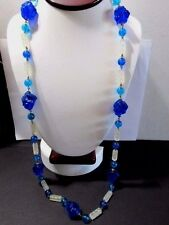 "NECKLACE ODD SHAPE BEADS ON WIRES PLASTIC CARVED ""LAVA"" TUBE BEADS BLUE CLEAR"