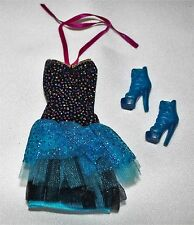 BARBIE DOLL DRESS AND SHOES NEW ORIGINAL BLUE AND BLACK CLOTHES ACCESSORIES