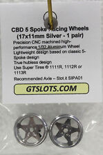 CB DESIGN CBD 0040 5 SPOKE SILVER RACING ALUMINUM WHEELS 17x11 1/32 SLOT PART