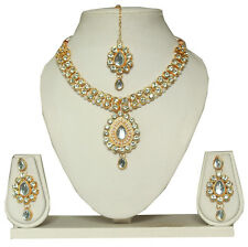 BOLLYWOOD INDIAN BRIDAL GOLD PLATED NECKLACE SET JEWELRY EARRINGS