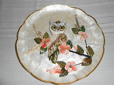 Vintage owl shell wall decor plaque