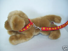 "Douglas Cuddle Toys 12"" Dog Puppy Wearing Paw Print Leash Golden Retriever Maybe"