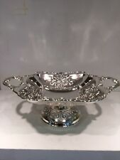 Silver Plate Footed Fruit Bowl Server Grape Flower Design