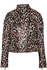 NEW McQ by Alexander McQueen Pink Leopard print leather biker jacket SIZE S