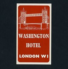 Washington Hotel LONDON England UK Tower * Old Luggage Label Kofferaufkleber