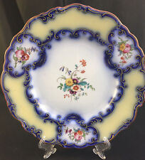 "RARE! ALCOCK/RIDGWAY 19thC 9"" 8805 FLOW BLUE PLATE YELLOW FLOWERS GOLD GILT #1"