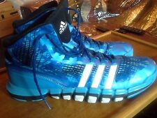 "Adidas ADIPURE  CRAZYQUICK HI-tops  BLUE/WHITE Leather ""PRE-OWNED"" size 18 M"