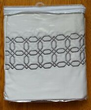 ROYAL BATH DESIGNERS PEARL WHITE SILVER EMBROIDERED OCTAGONAL SHOWER CURTAIN
