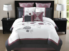 8 Piece Maliah Purple/Charcoal/White Comforter Set Queen