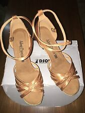 DSOL GOLD BRONZE SATIN / LEATHER / BALLROOM DANCING SHOES, US 6