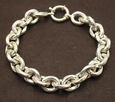 Bold Textured Ribbed Oval Link Bracelet Senora Lock Real 925 Sterling Silver QVC