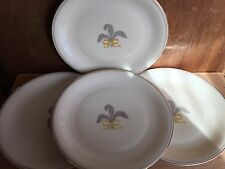 4 PirkenHammer PIR2 Dinner Plates Fleur de lis GRAY FEATHERS & YELLOW BOW, CZECH