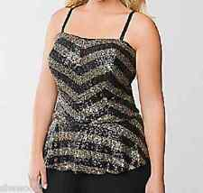 Lane Bryant gold & black striping peplum silhouette sequin Bustier top 18/20