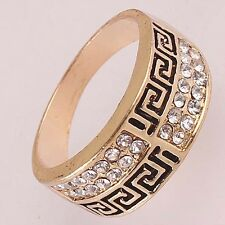 AAA Women Men 14K Rose Gold Filled US size 9 Crystal Cross Ring Jewelry C588