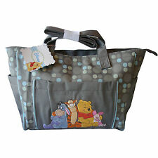 Diaper Bag Tote Large Disney Pooh Tigger Eeyore Piglet Gray Blue Dots NWT