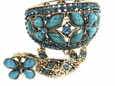Blue Butterfly Bracelet Slave W Ring Crystal Gold Plated Women NEW