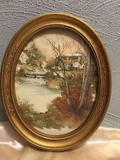 """Home Interior Syroco Oval Framed 9""""x 11"""" Country Scene Signed by F.Massa 1983"""