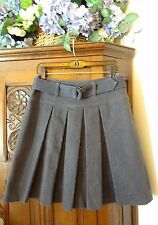 Etcetera Gray / Black Denim Belted Pleated Skirt Size 4