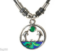 NEW Twin Dolphins Under The Sun Mood Necklace