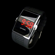 Fashion Men's Digital LED Screen Day Date Silicone Wrist Watch Bracelet Black #P