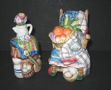 Fitz & Floyd Sri Lanka Rocking Chair & Barrel Salt & Pepper Shakers Cat Mouse
