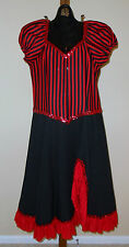 Adult Women's Can Can Girl Halloween Costume Saloon Girl  Small Red Black