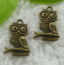 Free Ship 240 pieces bronze plated owl charms 22x15mm #2024