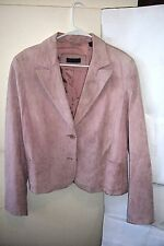 CONTEXT women's PINK SUDUE leather jacket / coat size EX-L buttons VERY GOOD