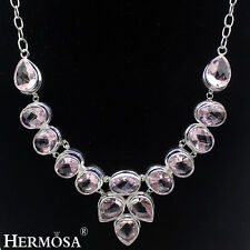 """XMAS SALE Hermosa® Real Pink Kunzite 925 Sterling Silver Long Chain Necklace 24"""""""