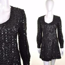 VINTAGE 60's Black Sequin Empire Line A Line Bell Sleeve Dress 12 Sixties Party