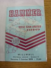 07/10/1978 West Ham United v Millwall  (Light Crease). Thanks for taking the tim