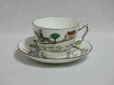 Crown Staffordshire Hunting Scene Footed Oversized Large Cup & Saucer