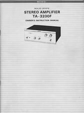 Sony TA-3200F Amplifier / Receiver Owners Instruction Manual