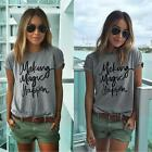 Fashion Women Summer Blouse Cotton Letter T Shirt Short Sleeve Casual Shirt Tops