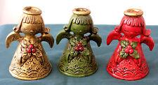Vintage Set (3) LEFTON Christmas ANGEL Figurines~Red/Green/Gold~HOLLY~Japan