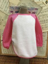 NEW SILLY BILLYZ BIB Apron PINK FLEECE Long Nylon Sleeves LARGE 2 3 4 No Messes