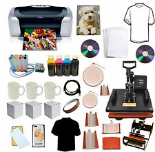 8in1 Combo Heat Transfer Press,Epson Printer C88,CISS Ink,T-shirts,Mug,Plate Kit