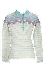 Hugo Boss Size S US Striped Women's Polo Tennis Shirt Long Sleeve Button Front