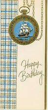 VINTAGE CLIPPER SHIP NAUTICAL POCKET WATCH GREETING PRINT 1 HOPE CHEST ART CARD